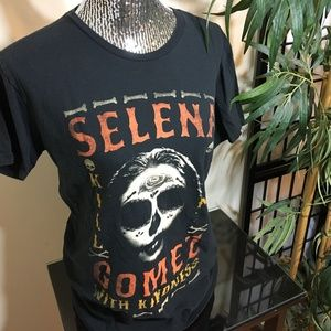 Selena Gomez Kill Em with Kindness Black T Shirt
